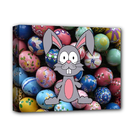 Easter Egg Bunny Treasure Deluxe Canvas 14  X 11  (framed)