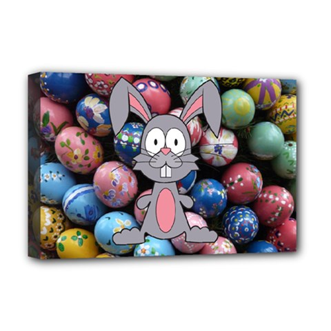 Easter Egg Bunny Treasure Deluxe Canvas 18  X 12  (framed)