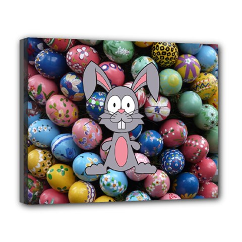 Easter Egg Bunny Treasure Deluxe Canvas 20  x 16  (Framed)