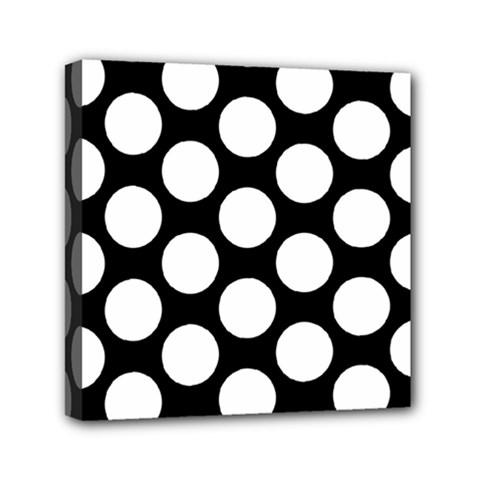 Black And White Polkadot Mini Canvas 6  x 6  (Framed)