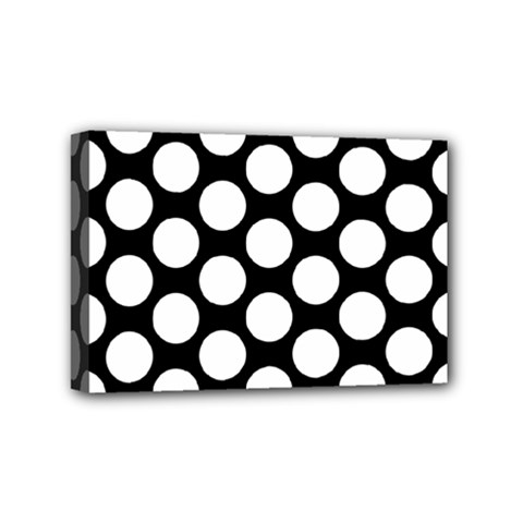 Black And White Polkadot Mini Canvas 6  x 4  (Framed)