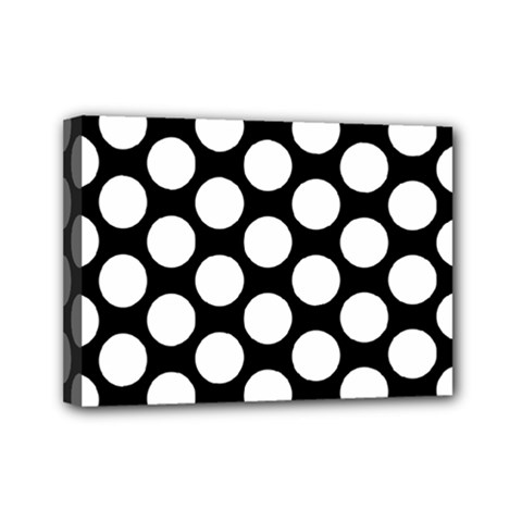 Black And White Polkadot Mini Canvas 7  X 5  (framed)