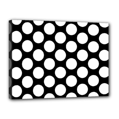 Black And White Polkadot Canvas 16  x 12  (Framed)