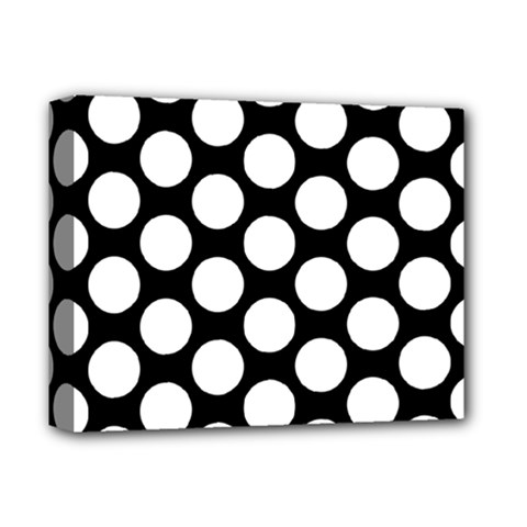 Black And White Polkadot Deluxe Canvas 14  x 11  (Framed)