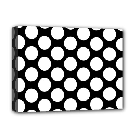 Black And White Polkadot Deluxe Canvas 16  X 12  (framed)