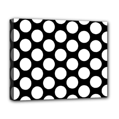 Black And White Polkadot Deluxe Canvas 20  X 16  (framed)
