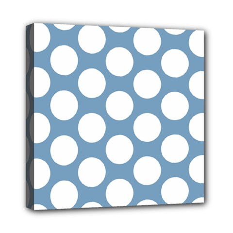 Blue Polkadot Mini Canvas 8  X 8  (framed)