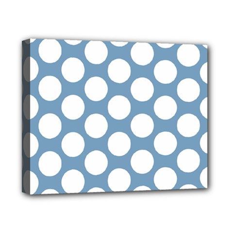 Blue Polkadot Canvas 10  x 8  (Framed)