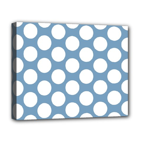 Blue Polkadot Deluxe Canvas 20  X 16  (framed)