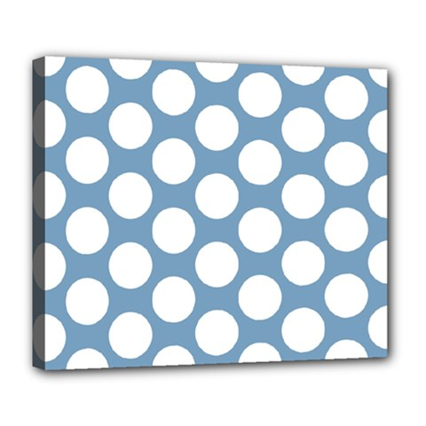 Blue Polkadot Deluxe Canvas 24  x 20  (Framed)