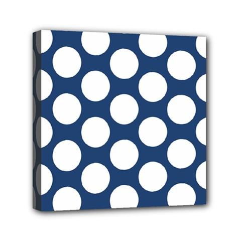 Dark Blue Polkadot Mini Canvas 6  x 6  (Framed)