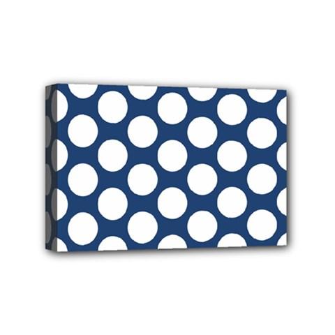 Dark Blue Polkadot Mini Canvas 6  X 4  (framed)