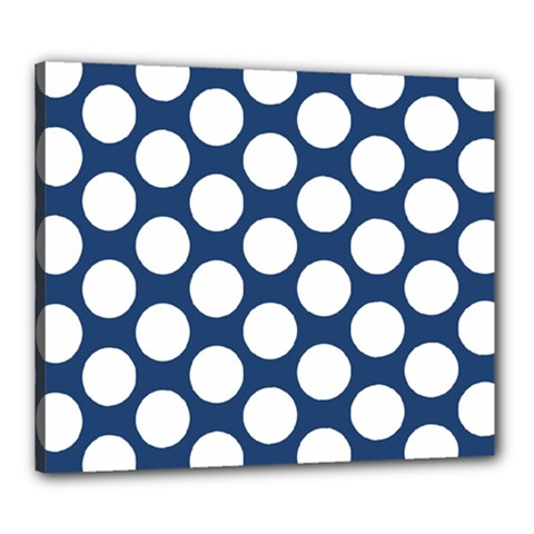 Dark Blue Polkadot Canvas 24  X 20  (framed)
