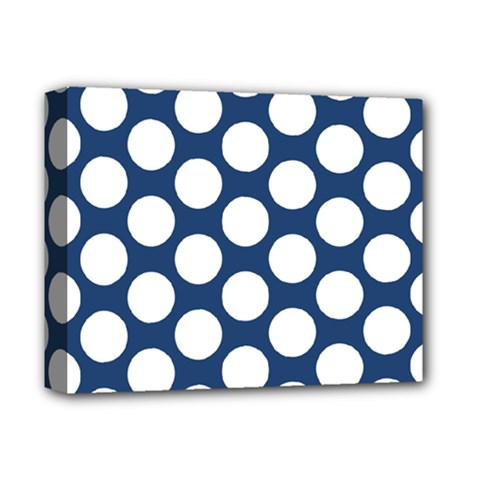 Dark Blue Polkadot Deluxe Canvas 14  X 11  (framed)