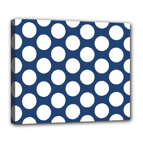 Dark Blue Polkadot Deluxe Canvas 24  X 20  (framed)