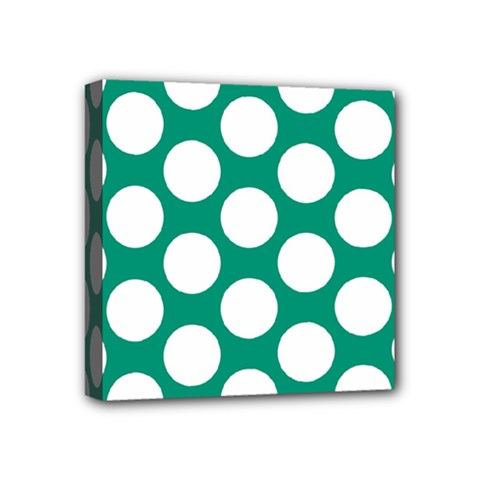 Emerald Green Polkadot Mini Canvas 4  x 4  (Framed)
