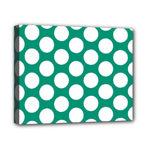 Emerald Green Polkadot Canvas 10  x 8  (Framed)