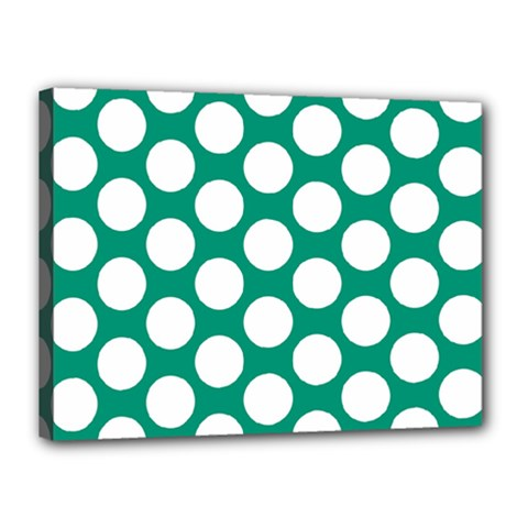 Emerald Green Polkadot Canvas 16  X 12  (framed)