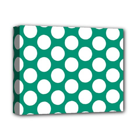 Emerald Green Polkadot Deluxe Canvas 14  x 11  (Framed)