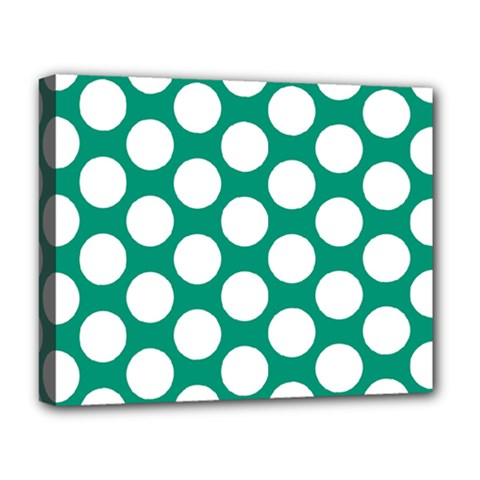 Emerald Green Polkadot Deluxe Canvas 20  x 16  (Framed)