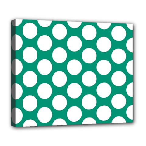 Emerald Green Polkadot Deluxe Canvas 24  x 20  (Framed)