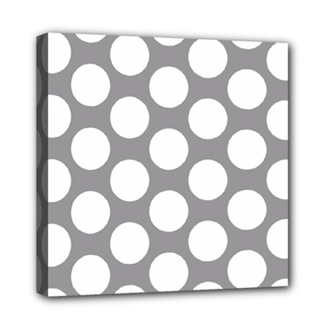 Grey Polkadot Mini Canvas 8  X 8  (framed)