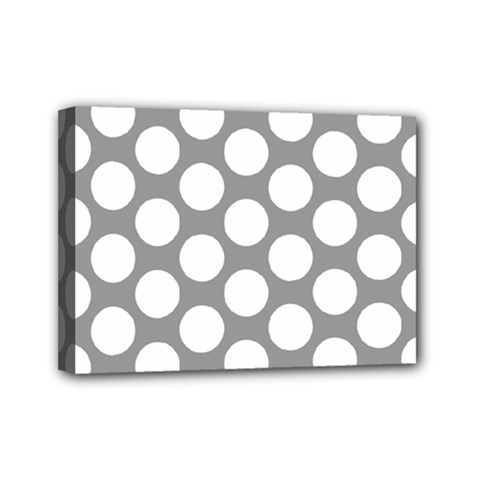 Grey Polkadot Mini Canvas 7  X 5  (framed)