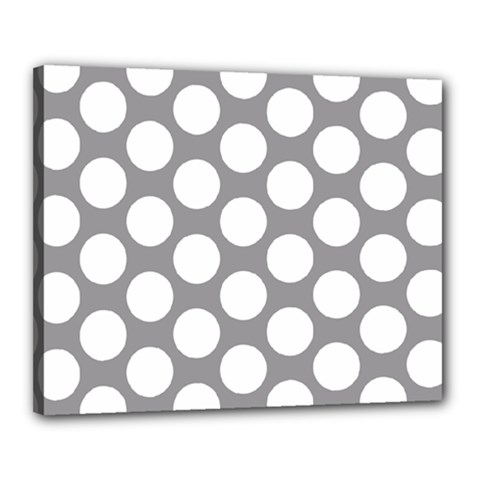 Grey Polkadot Canvas 20  x 16  (Framed)