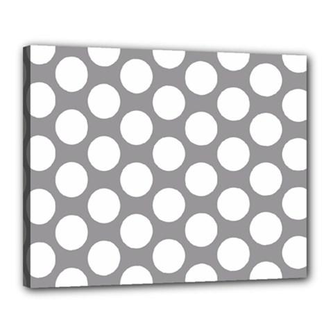 Grey Polkadot Canvas 20  X 16  (framed)