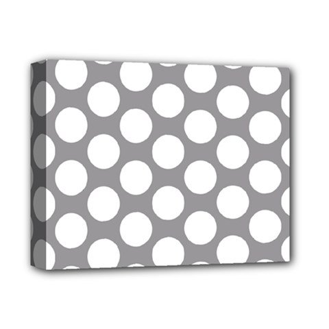Grey Polkadot Deluxe Canvas 14  x 11  (Framed)