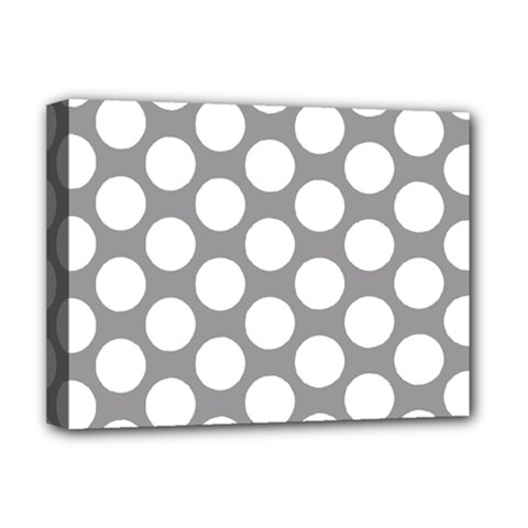 Grey Polkadot Deluxe Canvas 16  x 12  (Framed)