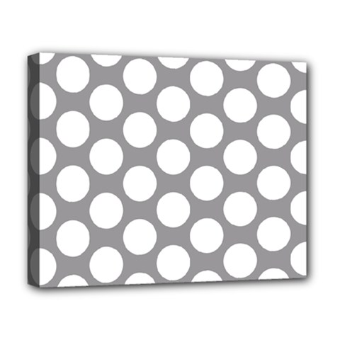 Grey Polkadot Deluxe Canvas 20  x 16  (Framed)