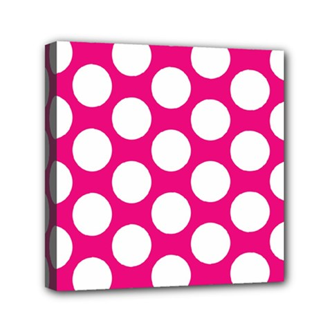 Pink Polkadot Mini Canvas 6  X 6  (framed)