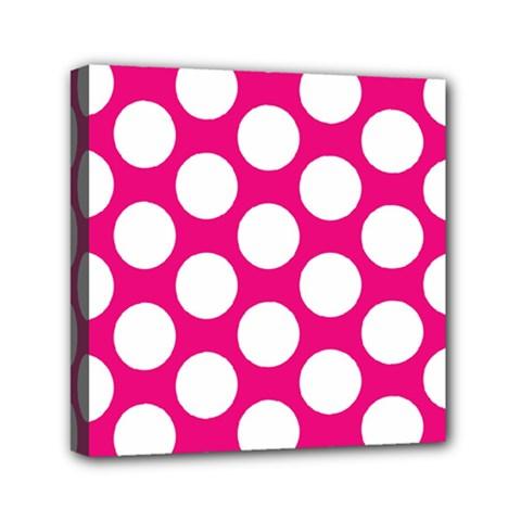 Pink Polkadot Mini Canvas 6  x 6  (Framed)