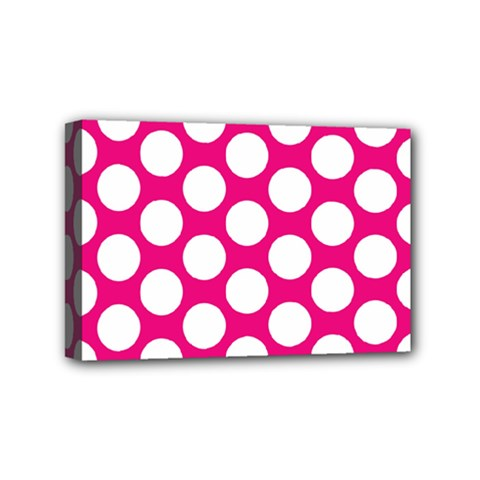 Pink Polkadot Mini Canvas 6  x 4  (Framed)