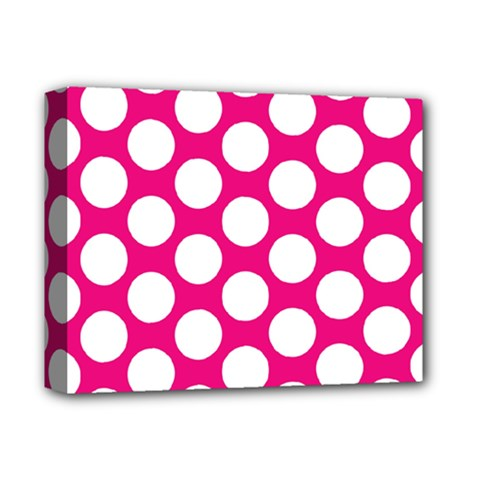 Pink Polkadot Deluxe Canvas 14  x 11  (Framed)