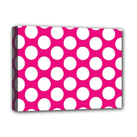 Pink Polkadot Deluxe Canvas 16  x 12  (Framed)