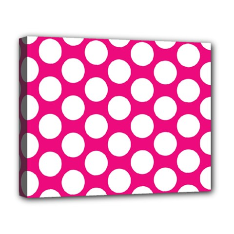 Pink Polkadot Deluxe Canvas 20  X 16  (framed)