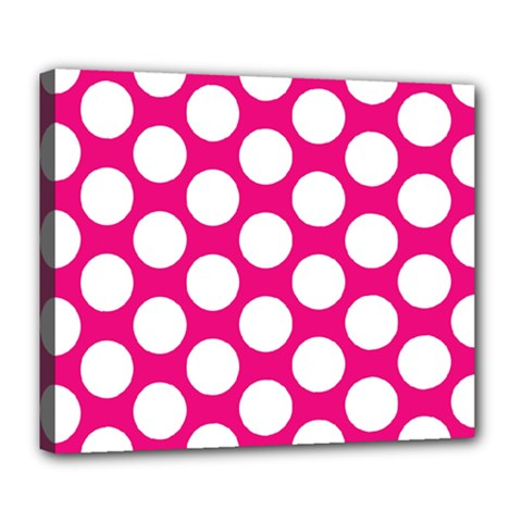 Pink Polkadot Deluxe Canvas 24  x 20  (Framed)