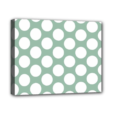 Jade Green Polkadot Canvas 10  x 8  (Framed)