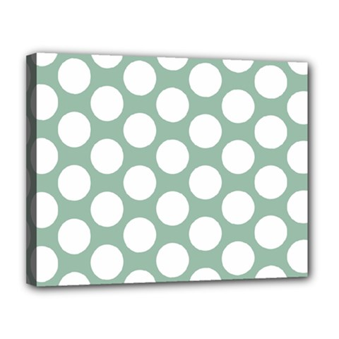 Jade Green Polkadot Canvas 14  x 11  (Framed)