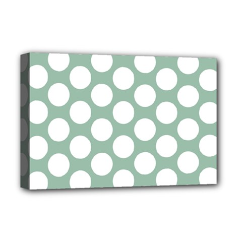 Jade Green Polkadot Deluxe Canvas 18  x 12  (Framed)