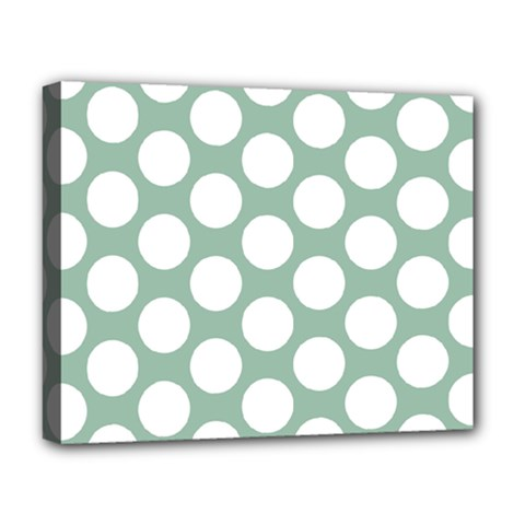 Jade Green Polkadot Deluxe Canvas 20  x 16  (Framed)