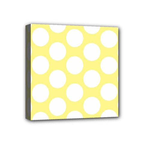 Yellow Polkadot Mini Canvas 4  X 4  (framed)