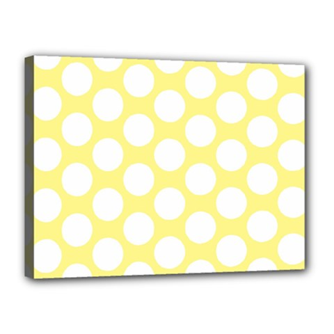Yellow Polkadot Canvas 16  X 12  (framed)