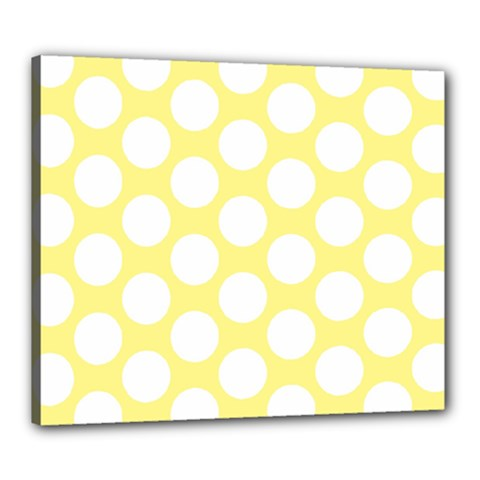 Yellow Polkadot Canvas 24  x 20  (Framed)