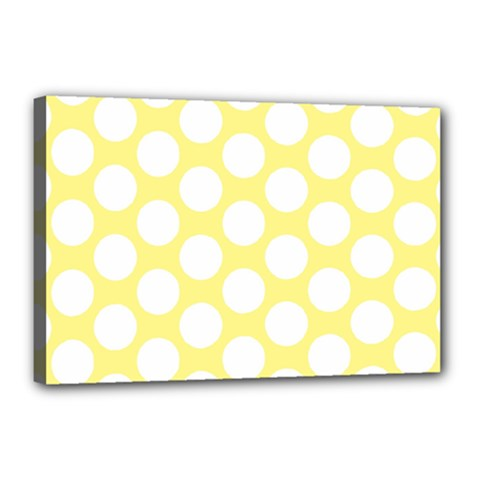 Yellow Polkadot Canvas 18  x 12  (Framed)