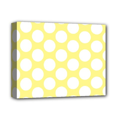 Yellow Polkadot Deluxe Canvas 14  x 11  (Framed)