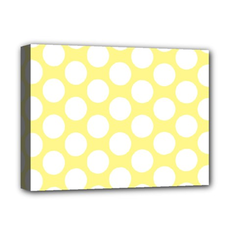 Yellow Polkadot Deluxe Canvas 16  x 12  (Framed)