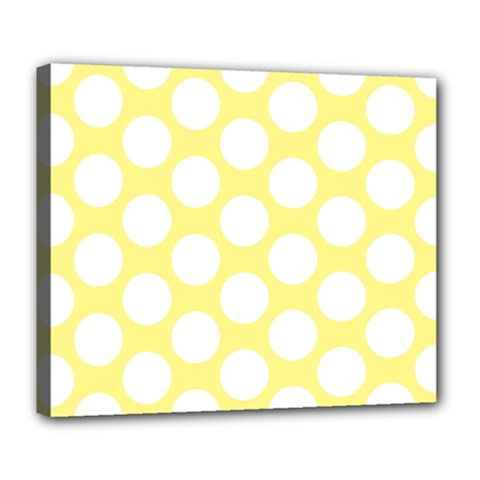 Yellow Polkadot Deluxe Canvas 24  x 20  (Framed)